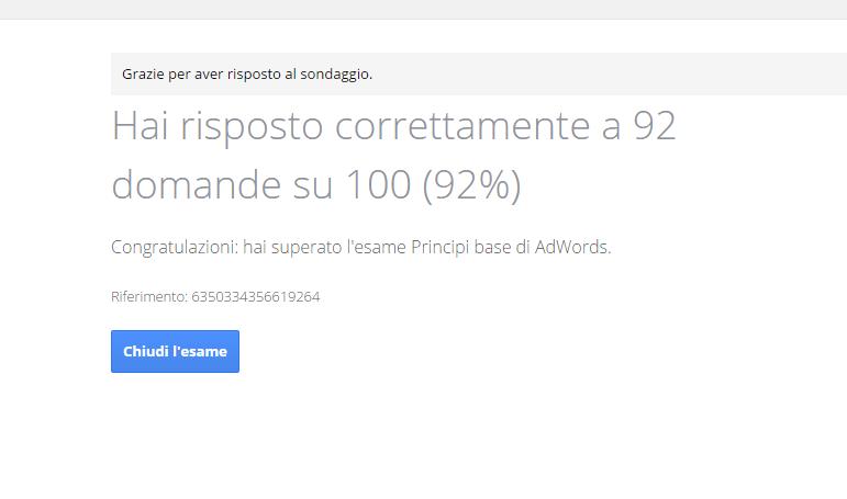 Esame Certificazione Google AdWords