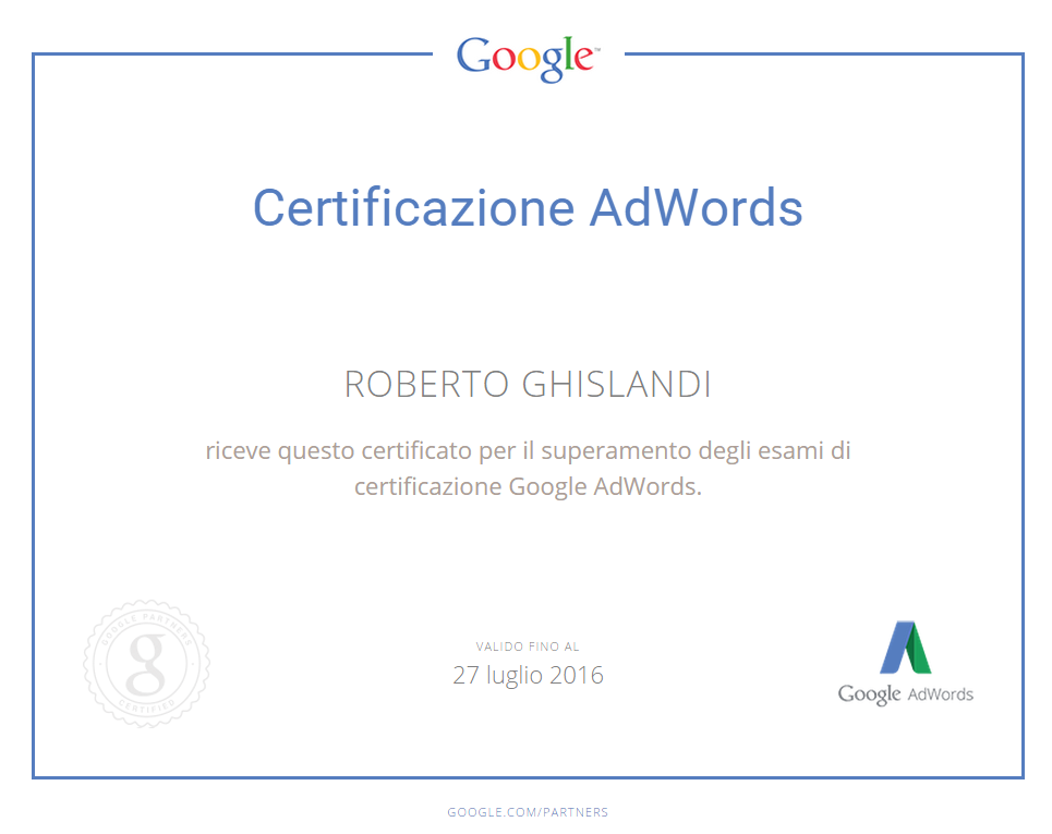 Certificazione Google AdWords Partner
