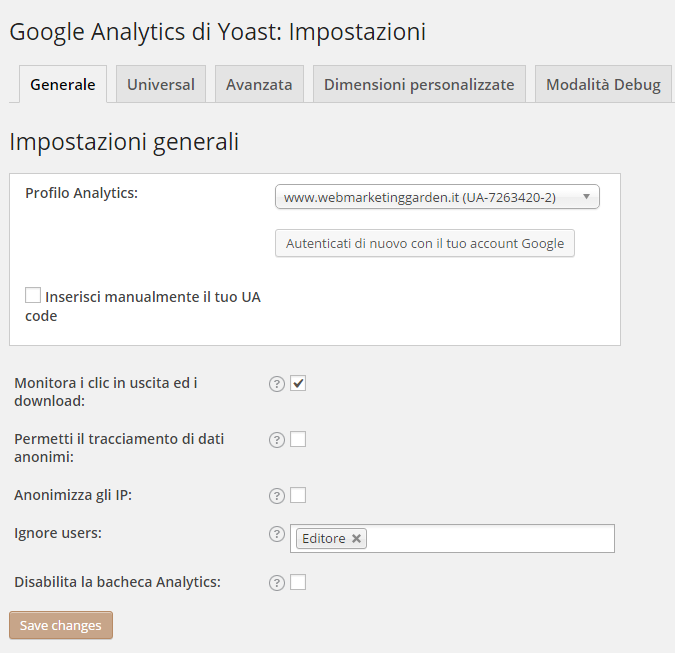Plugin WordPress Yoast Analytics