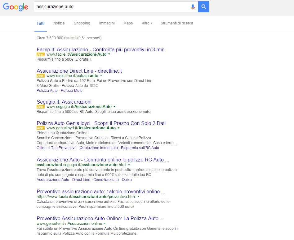 La nuova pagina dei risultati della ricerca che d'ora in avanti vedremo come risposta a una ricerca su Google. Gli Annunci Google AdWords sono scomparsi dalla parte destra della schermata. In questo caso gli annunci mostrati sono addirittura quattro essendo una query particolarmente rilevante dal punto di vista commerciale.