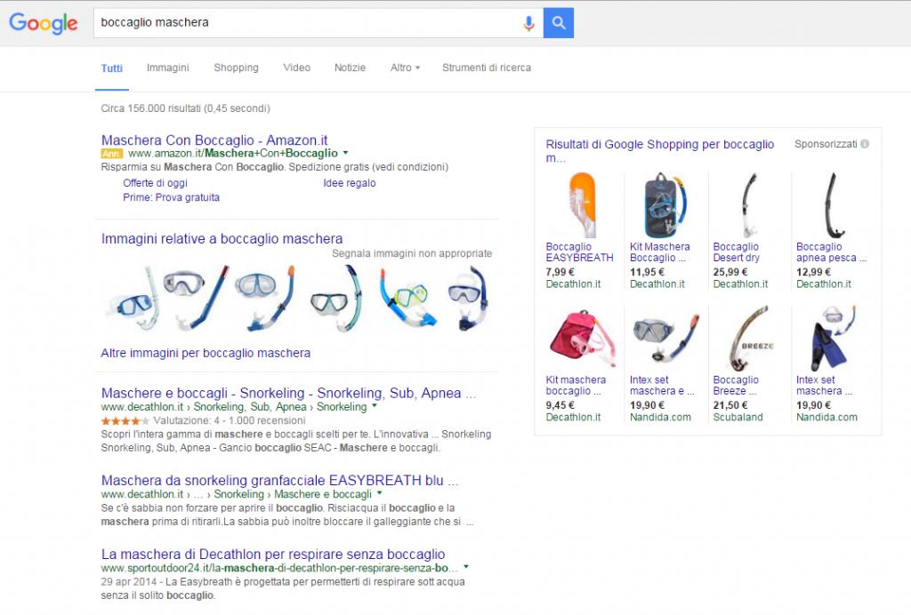 Google AdWords. Sulla parte destra della schermata sono rimasti gli annunci relativi a Google Shopping.