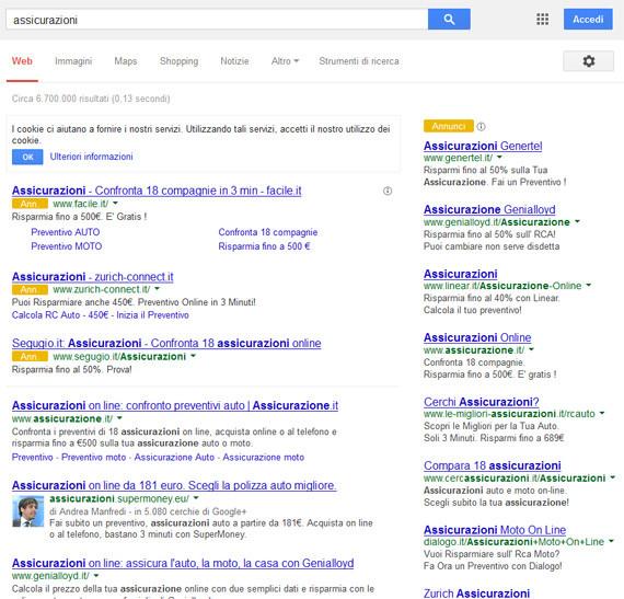 Google AdWords posizionamento annunci