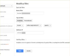 Google Analytics - Rimozioni visitatori interni e sviluppatori