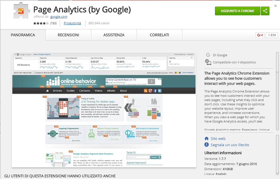 Google Analytics - Analisi dati in page